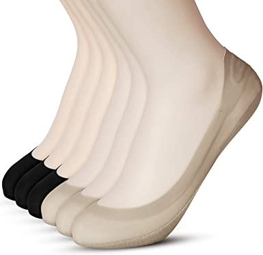 Womens No Show Ultra Low Cut Liner Non Slip Cotton Socks with Grip Gel 6 Pairs