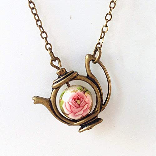 Teapot necklace with letter initial necklace dainty necklace initial gift tea lover gift teapot jewelry tea party tea gifts tea pot necklace