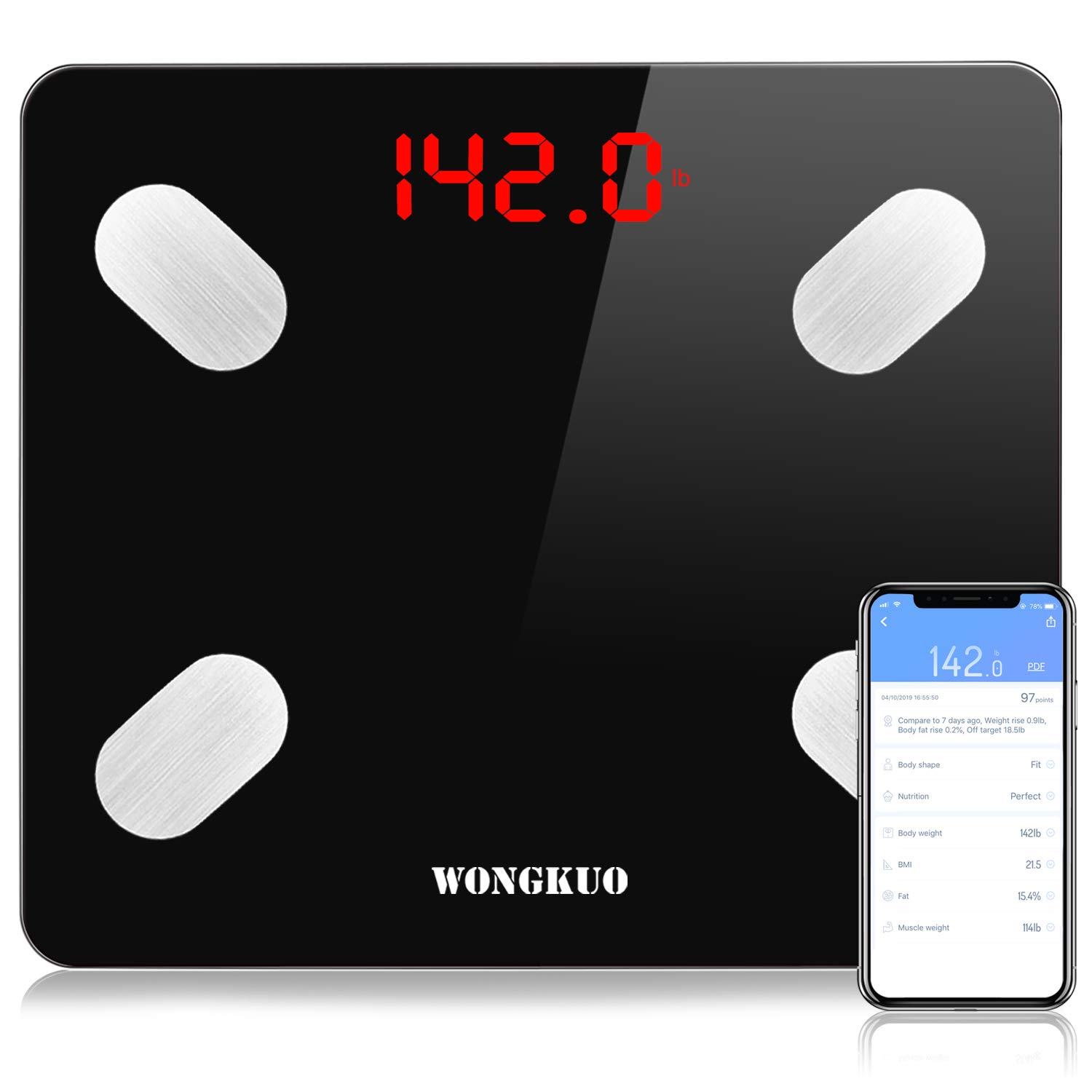 WONGKUO Bluetooth Smart Body Fat Scale,24 Key Body Composition Monitor Wireless Digital Bathroom Weight Scales Analyzer with Free iOS and Android APP,Sync Data with Apple Health,Google Fit or Fitbit by WONGKUO