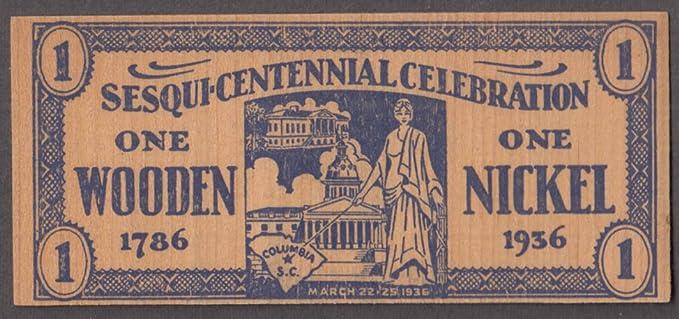 City Of Columbia Sc Sesquicentenniual Celebration Wooden Nickel 1786