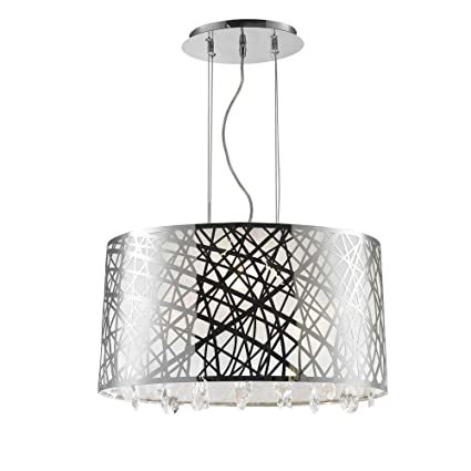 0b1570cab80 Worldwide Lighting Julie Collection 4 Light Chrome Finish Oval Drum Shade  with Clear Crystal Chandelier 21