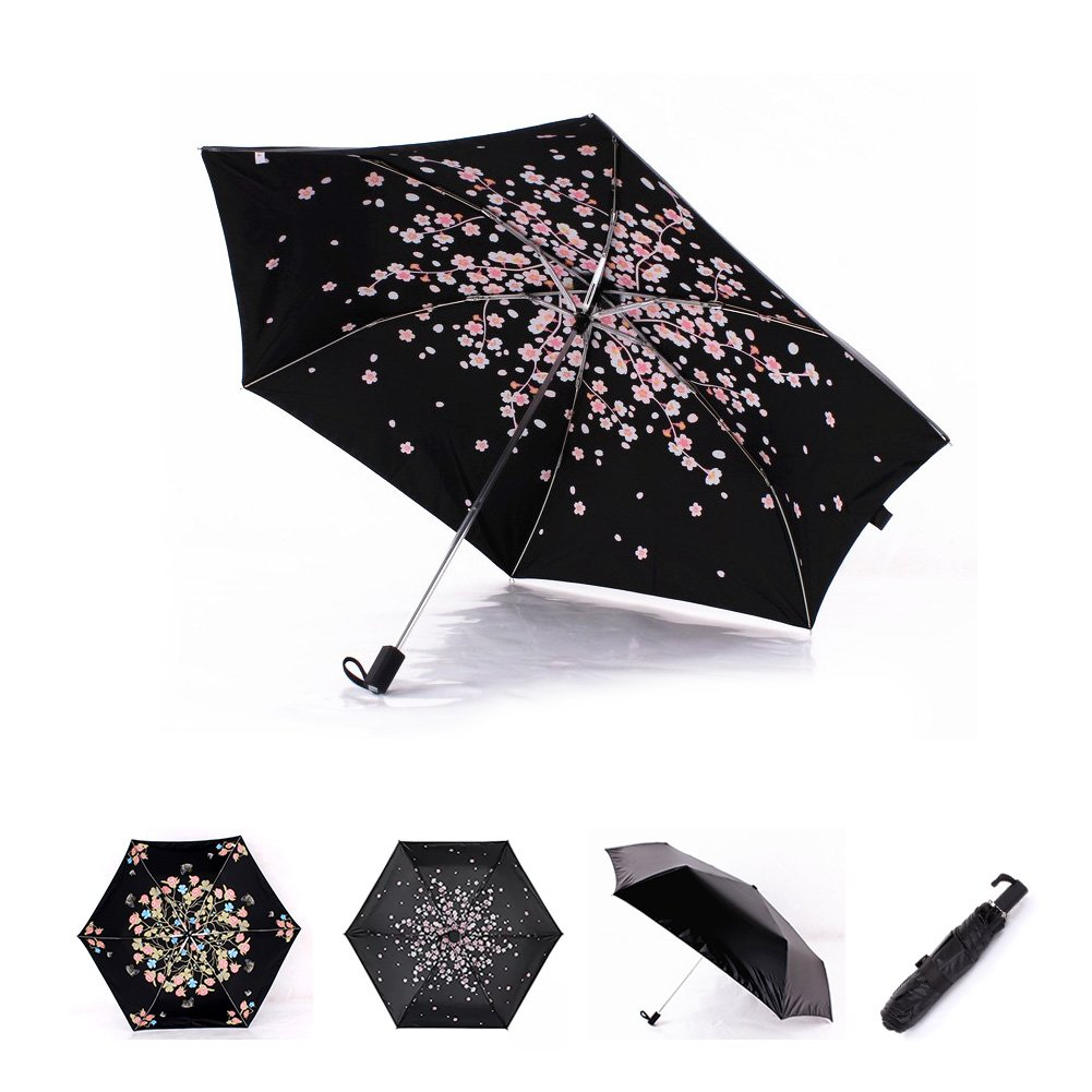 Cherry Blossom Foldable Windproof Travel Umbrella, Fast Drying/waterproof 8 Ribs Reinforced Windproof, , portable and durable for Business. (Plum Pink)