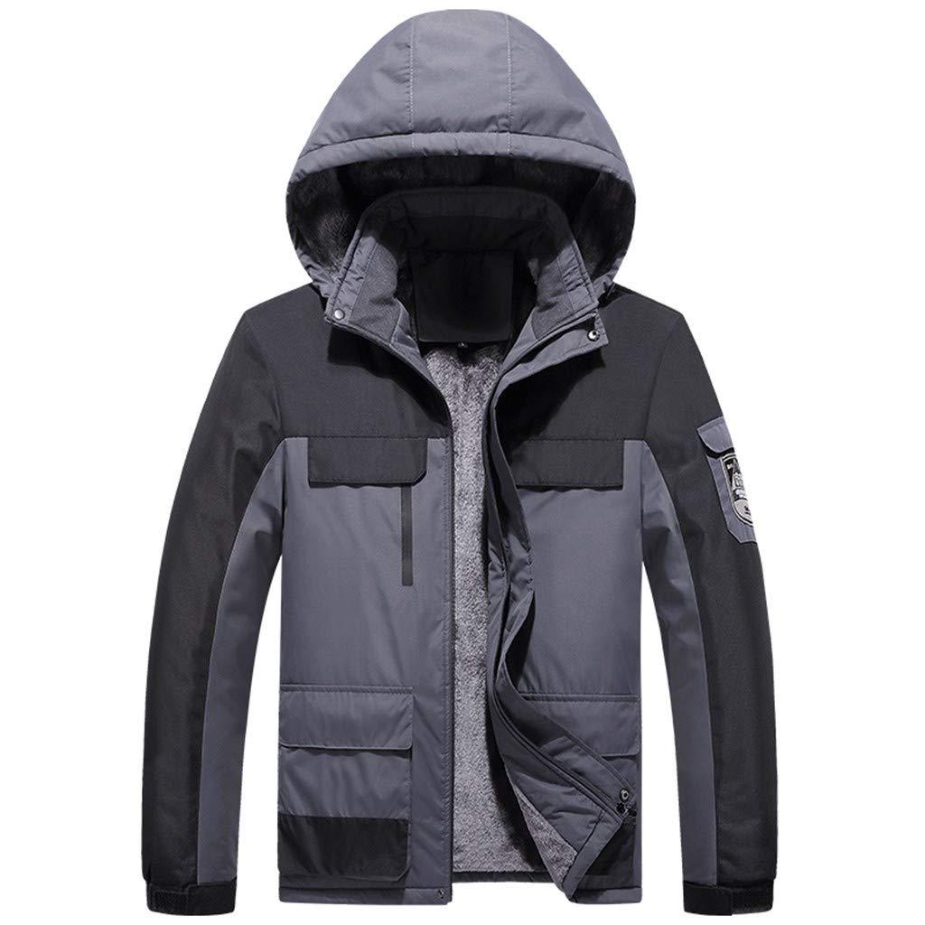 Juesi Men's Waterproof Fleece Mountain Jacket Winter Hooded Windproof Warm Ski Snowboarding Jacket with Multi-Pockets Gray by Juesi
