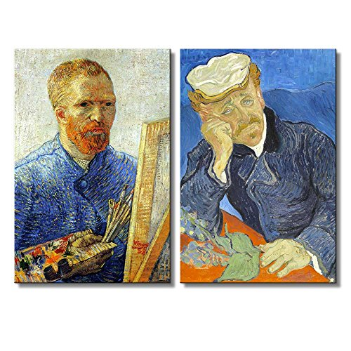 Portrait of Dr Gachet Self Portrait as a Painter by Vincent Van Gogh Oil Painting Reproduction in Set of 2 x 2 Panels