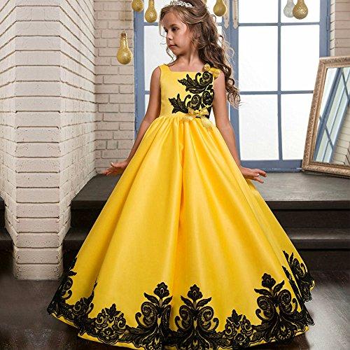 Vestidos Fiesta Cóctel Cordón de Princesa Niñas Novia 205 LZH Vestido de amarillo Boda qx1v0c