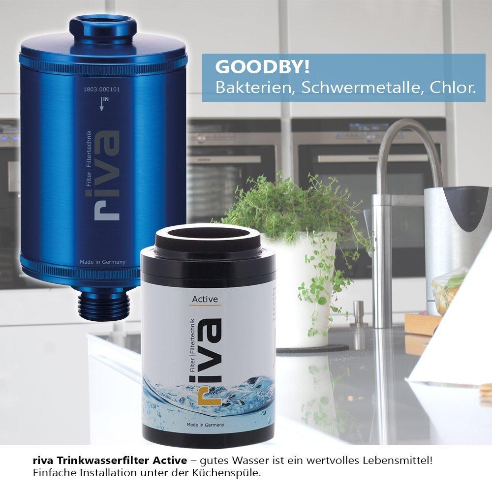 Trinkwasser Filter-Set Active schont N/ährstoffe riva Filter Inkl Blau Reduziert Schadstoffe flexiblem Schlauchanschluss-Set WASSERHAHNFILTER Gesundes Trinkwasser AKTIVKOHLE