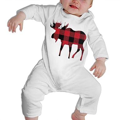 8017d6030 CARRYFUTURE Buffalo Plaid Moose Lumberjack Red Black Long Sleeves Bodysuit  Infant Climbing Clothes
