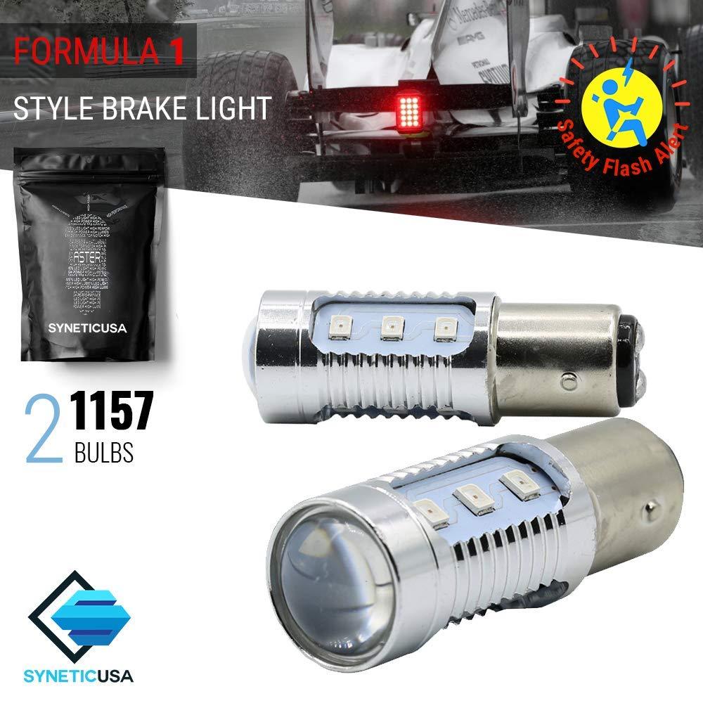 High Power Red Stop Brake 2835 Flash Strobe Rear Alert Safety 12-LED Light Bulbs (3157) Syneticusa