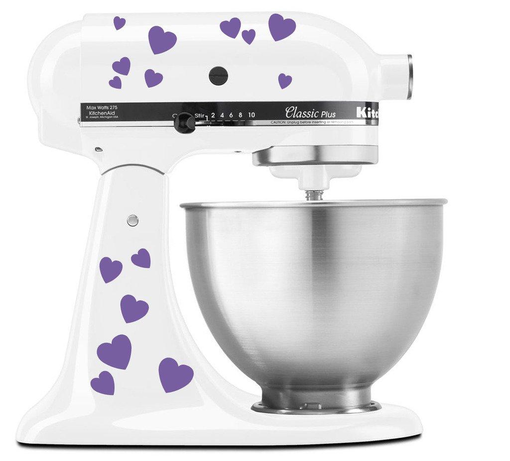 Hearts Bae Valentine Pattern - Vinyl Decal Set for Kitchen Mixers - Lavendar