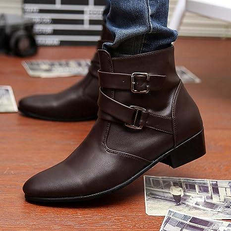 ... británicas Puntiagudas para Hombres Zapatillas de Botas Martin Botas de Trabajo Botas Martin Botas Martin Botines Western Martin Zapatos: Amazon.es: ...