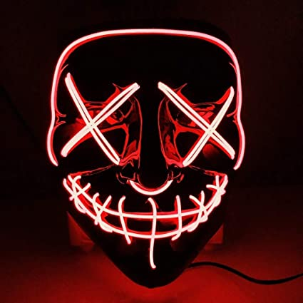 CompraFun Máscara LED Halloween, Máscara Disfraz Luminosa Craneo Esqueleto, para Navidad Halloween Cosplay Grimace Festival Fiesta Show, Funciona con ...