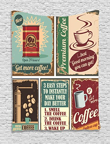 Ambesonne 1950s Decor Collection, Coffee Posters and Metal Signs Artistic Design Bean Cup Tin Espresso Mug Cappuccino Logo, Bedroom Living Room Dorm Wall Hanging Tapestry, Ivory Red Blue Tin Father Christmas Decorations