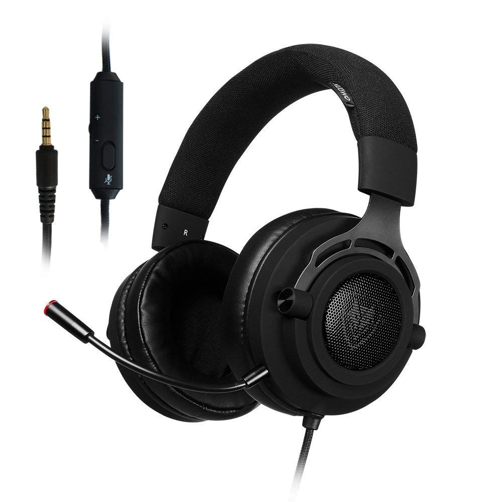 PS4 Xbox One Gaming Headset Stereo, Detachable Microphone, Mute Switch, 3.5mm Jack Wired Over Ear, Computer Headphones Volume Control, for PC, Laptop, Tablet, Mac, Chat, Video Conference (N9D - 3.5mm)