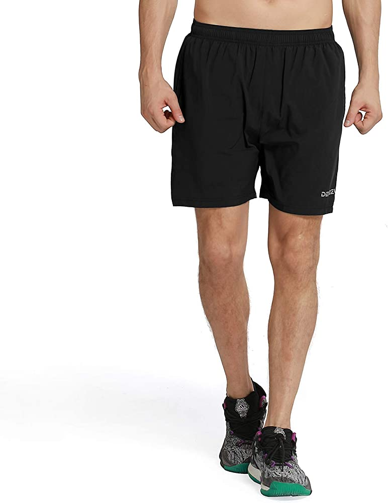 be4d06d88c DEMOZU Men's 5 Inch Dry Fit Running Shorts Workout Athletic Gym Short with Zipper  Pockets,