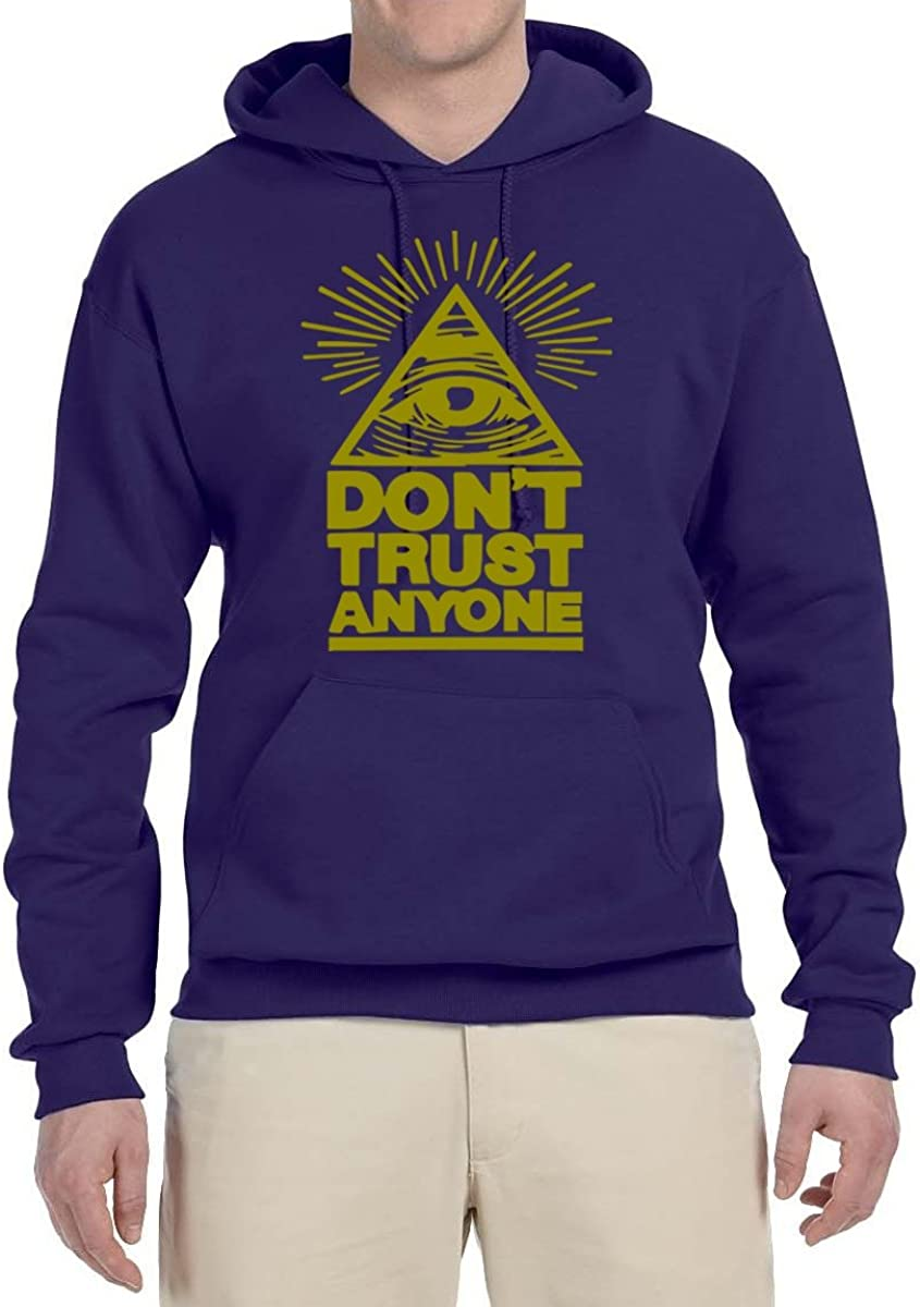 Unisex Hooded Sweatshirt Graphic Hoodie X-Large Purple Dont Trust Anyone All Seeing Eye Gold Design