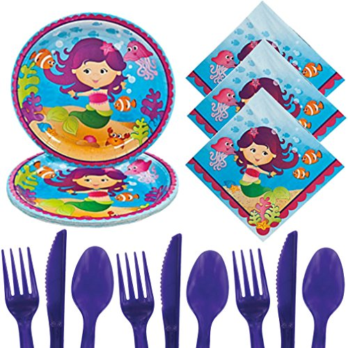 Mermaid Party Supplies For 16, Little Mermaid Birthday Ocean Themed Under the Sea Kit - Toddler, Girls, Boys, Kids - Plates, Napkins, Cutlery (Themed Dress Up Ideas)