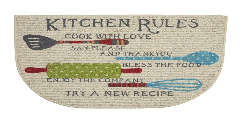 Kitchen Rugs Mat Non Skid D Shaped Decor 18 x 30 Inches (18 x 30 Inches, Coffee Theme) Mainstay