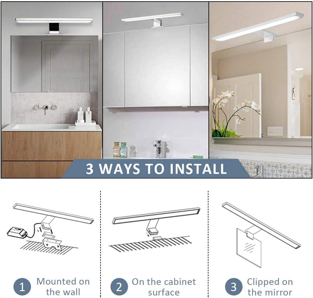 Dailyart Aplique Espejo Baño 8W 520lm Lámpara de Espejo Led Sala de Baño IP44 Aplique Espejo Baño LED Interior armario con espejo lámpara 6000K, 400 * 100 * 40mm [Clase de eficiencia