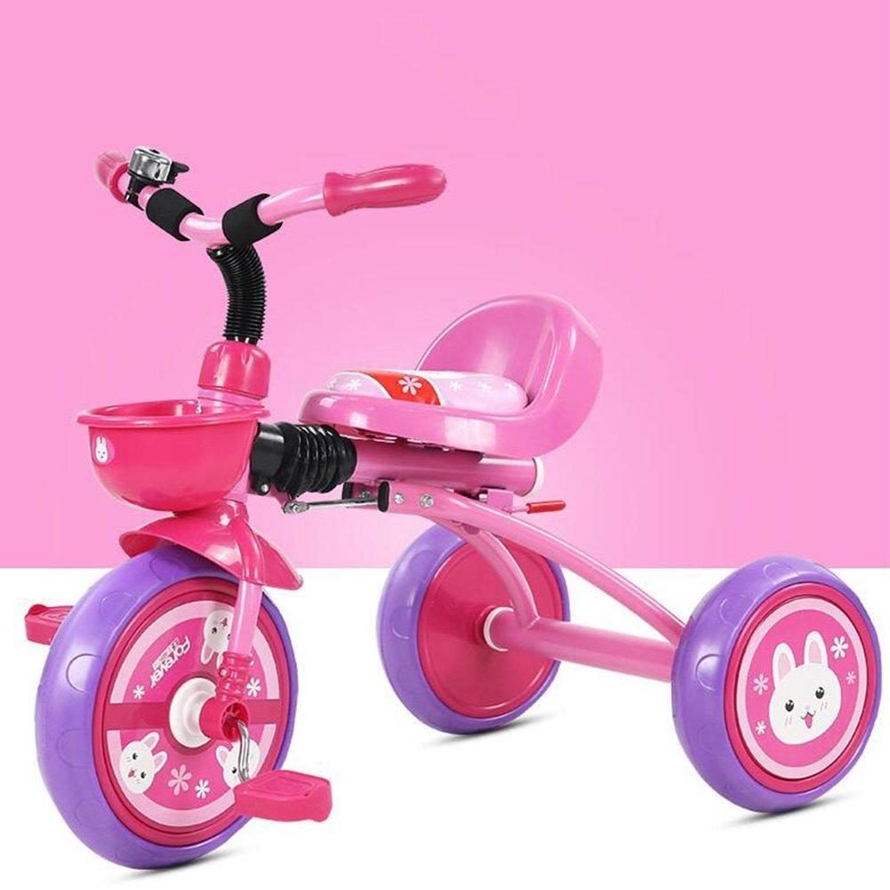 XQ 折りたたみ可能 軽量 耐衝撃性 子供 1-3歳 トロリー ベビーキャリッジ ピンク 子ども用自転車 B07CG2F9D4