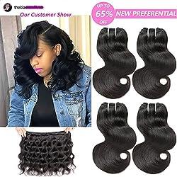 Lareallee Weave Hair Short Body Wave Virgin Human Hair Bundles 8A Brazilian Body Wave 4 Bundles 100% Unprocessed Human Hair Length-Color (8 8 8 8inch,Natural Black)