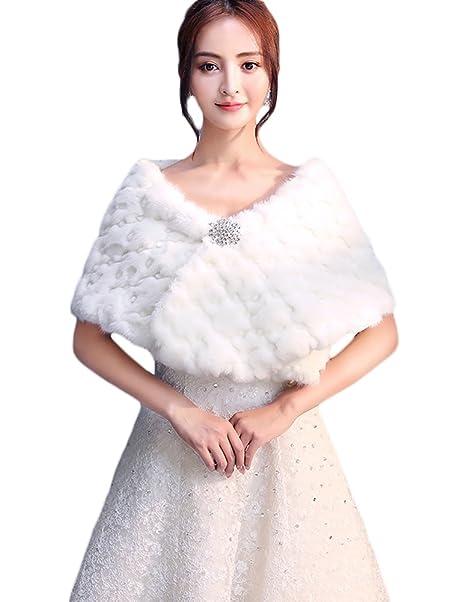 Icegrey Donna Inverno Scialli Bianco Morbido Coprispalle Bolerino da Sposa  in Pelliccia Ecologica Per Matrimonio Sera Festa  Amazon.it  Abbigliamento 08f7172f02a