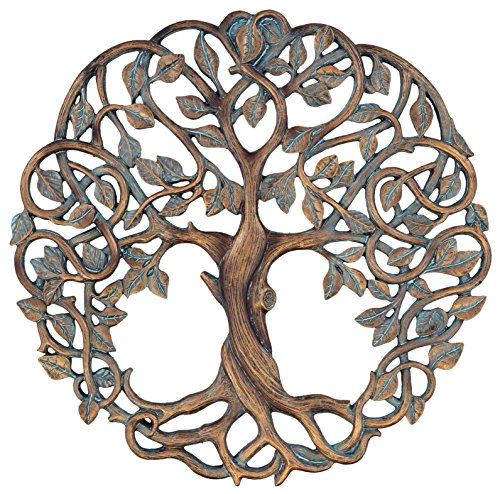 "Tree of Life Wall Plaque 11 5/8"" Decorative Celtic Garden Art Sculpture Copper Finish from Old River Outdoors"