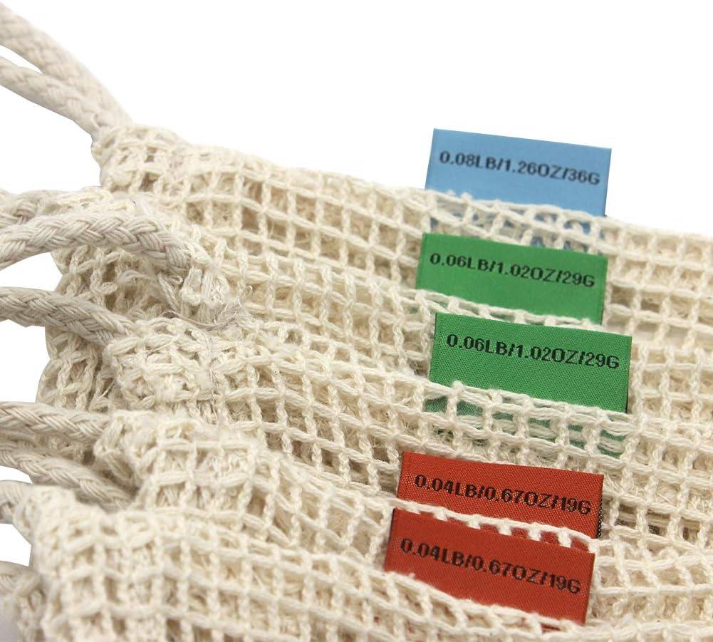 Bolsa de algod/ón reutilizable OneChois para frutas y verduras Juego de 6 Bolsa de tela 1x Redes de compra duraderas y lavables con peso de tara en las etiquetas 2S, 2M, 1L