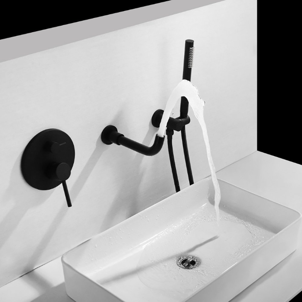Qzny Black Paint Bad Tap in Wand Hot Cold Wasserfall Wasserhahn 360/º Swivel Split Messing Becken Waschbecken Mixer Tap Toilette Garderobe Hotel Bar