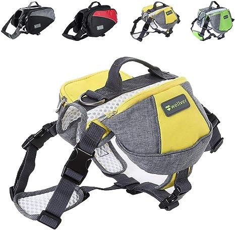 Wellver Chien Sac à Dos de voyage Sac de selle Packs pour randonnée Marche  Camping, M, Yellow+Grey