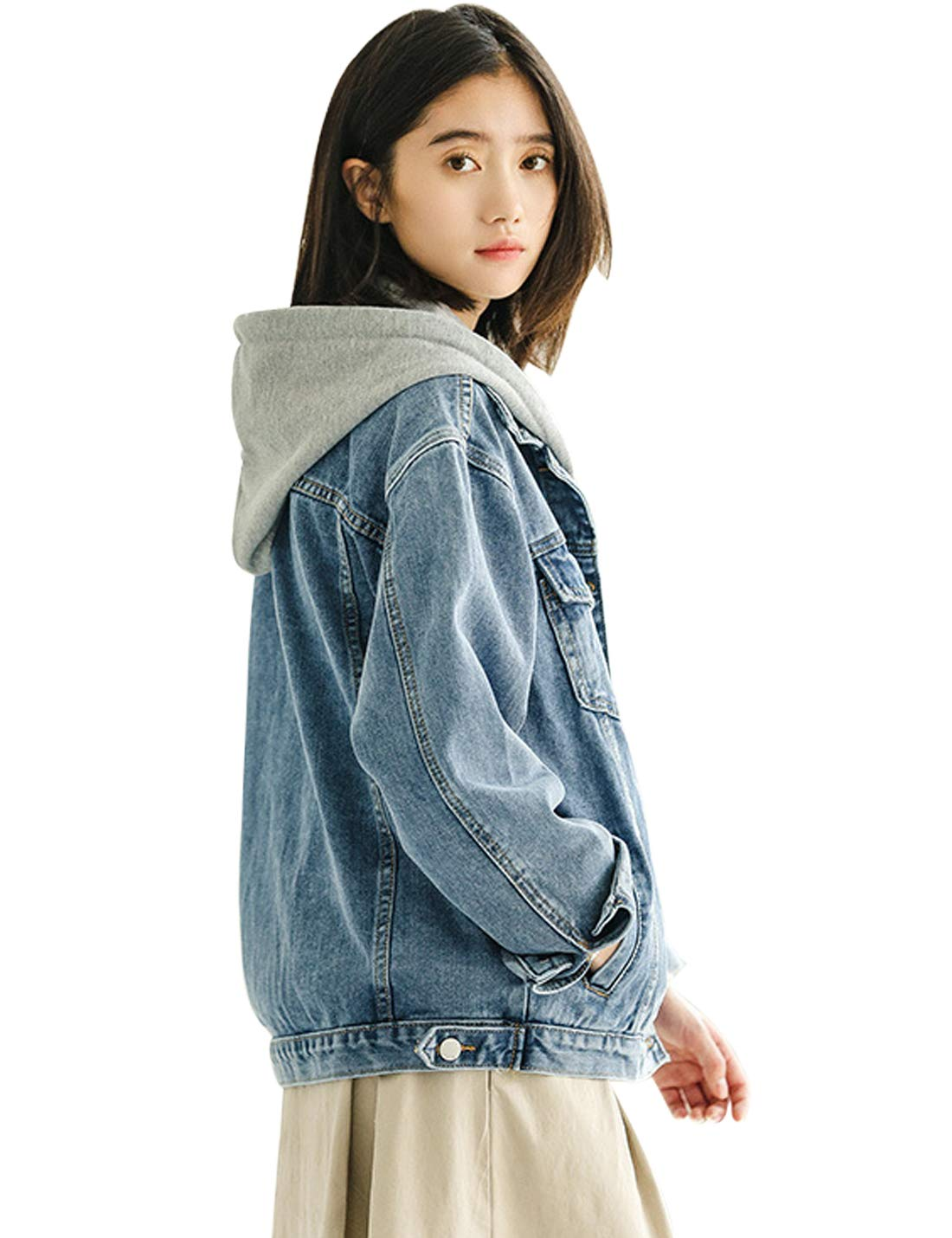 Yeokou Womens Loose Baggy Long Sleeve Hooded Boyfriend BF Denim Jean Jacket Coat (Medium, Style01 Blue)