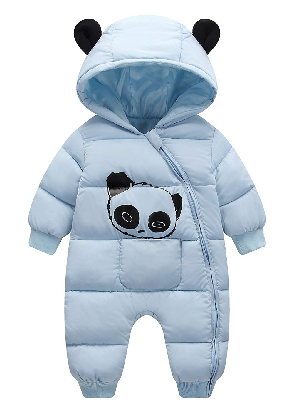 Happy Cherry Baby Warm Jumpsuit Infant Winter Romper Outfit Hoody Coat Snowsuit