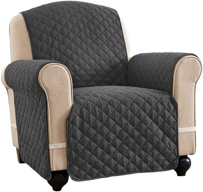 Reversible Spill Resistant Quilted Furniture Protector Cover with Ties - Covers Seat Bottom, Seat Back and 2 Seat Arms, Slate Grey/Silv, Chair