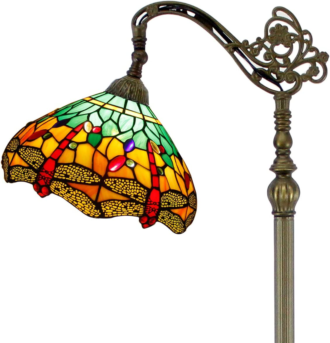Tiffany Style Reading Floor Lamp Stained Glass Green Yellow Dragonfly Lampshade in 64 Inch Tall Antique Arched Base for Girlfriend Bedroom Living Room Lighting Table S009G WERFACTORY