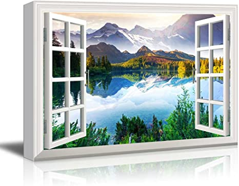 Poster or Canvas A Heins landscapes Window View Painting White c0dr