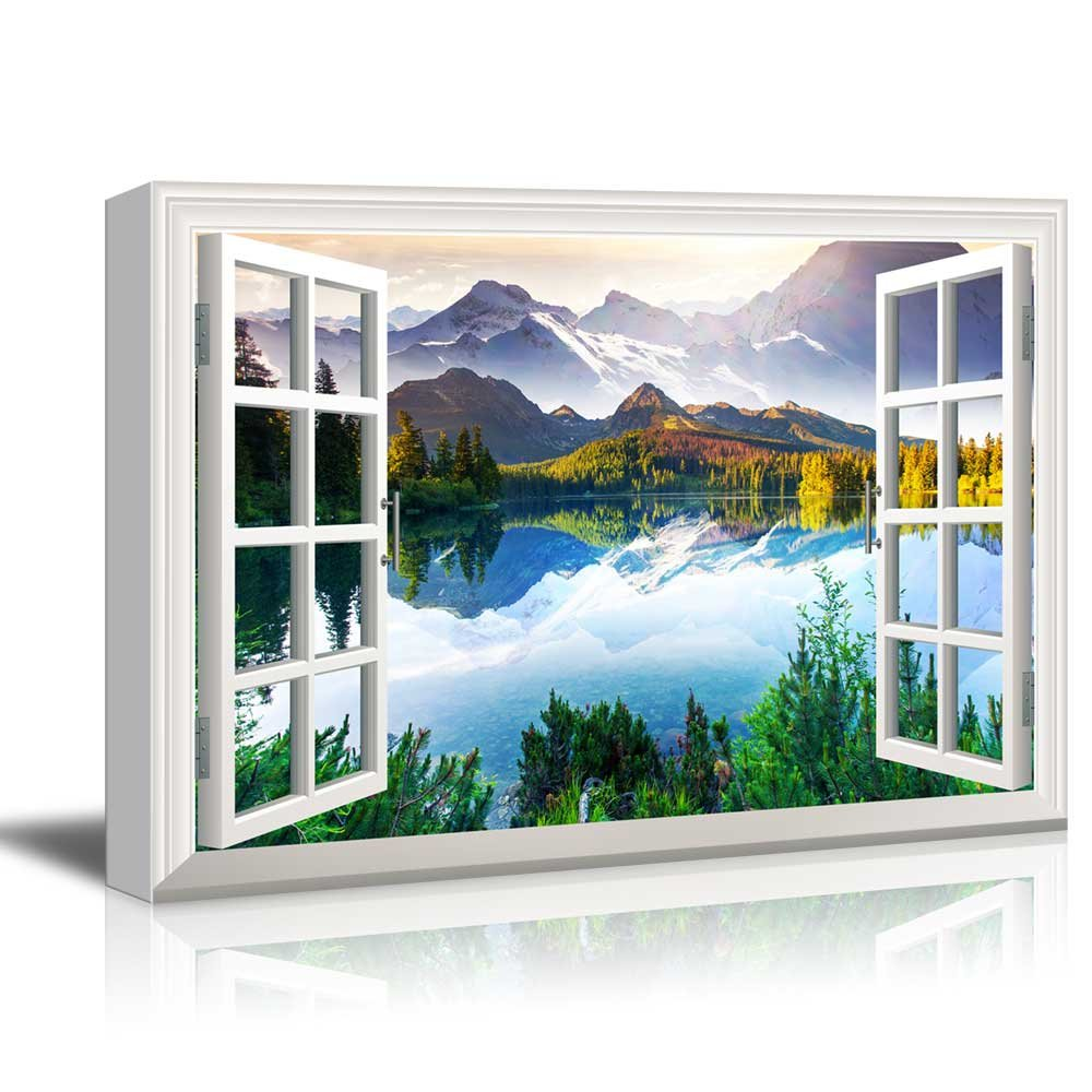 Window View Landscape with Peaceful Lake in Mountains Gallery 24x36 inches by wall26