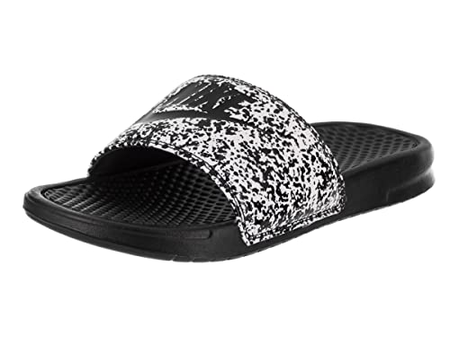 47e7ec72f09 NIKE Benassi JDI Print Slide Sandals White Black 631261 100  Amazon ...