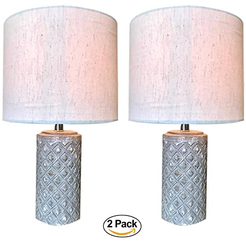 Boho Table Lamp Set of 2 – Small Grey Ceramic Base with Off-White Linen Shade Rustic Decor Lamp for Bedroom, Side Table, Desk, or Office