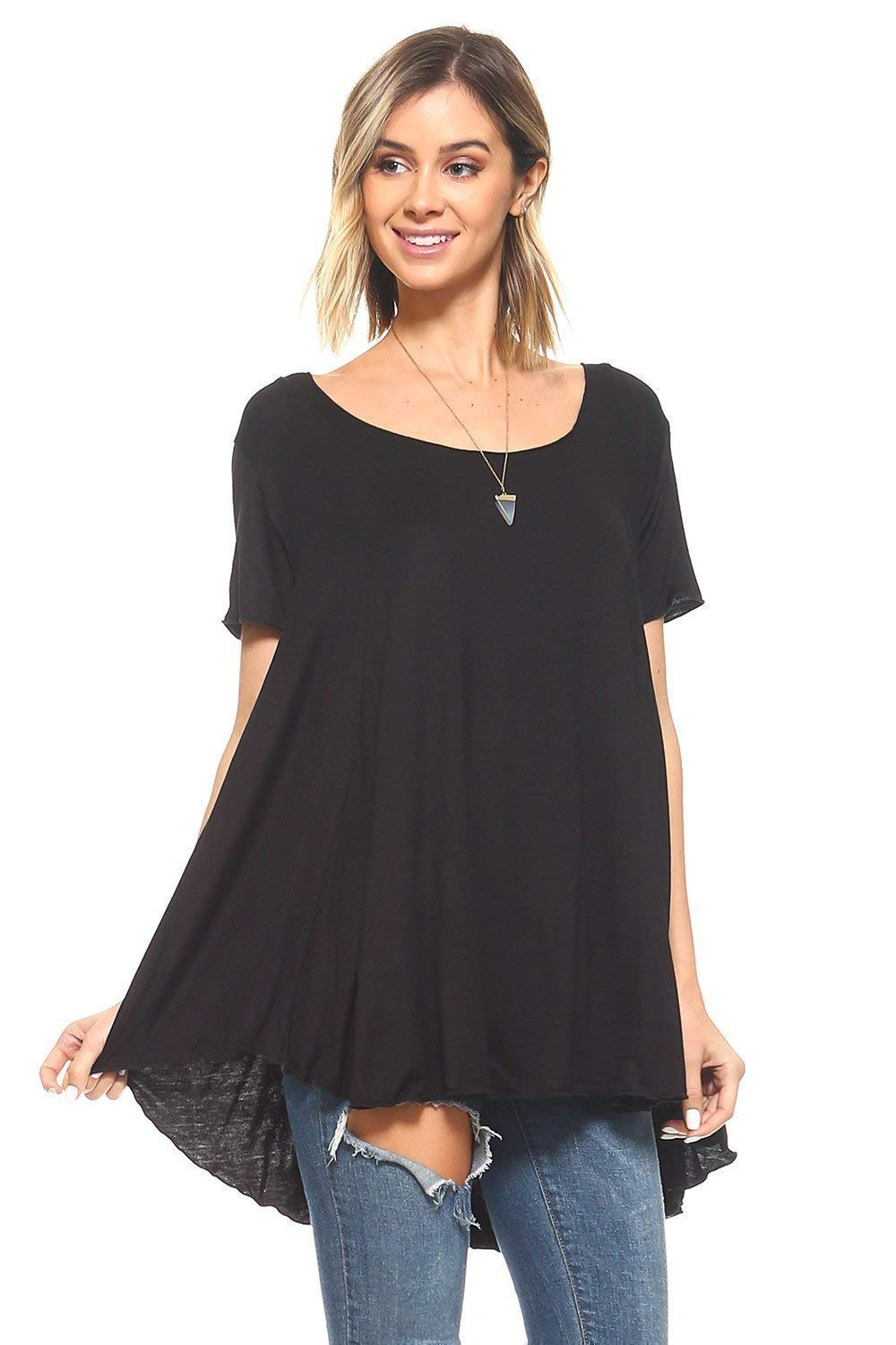 099b112b6898 Top6: Simplicitie Women's Short Sleeve Loose Fit Flare Flowy T Shirt Tunic  Top - Regular and Plus Size - Black - Made in USA