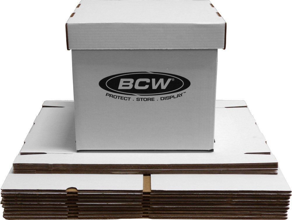 BCW-BX-33RPM-BOX - 12'' Record Album Storage Box with Removable Lid - Holds Up to 65 Vinyl Records - White - (10 Boxes)