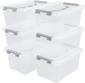 Qsbon 6-Pack 6 L Plastic Storage Containers Latch Storage Box with Lids