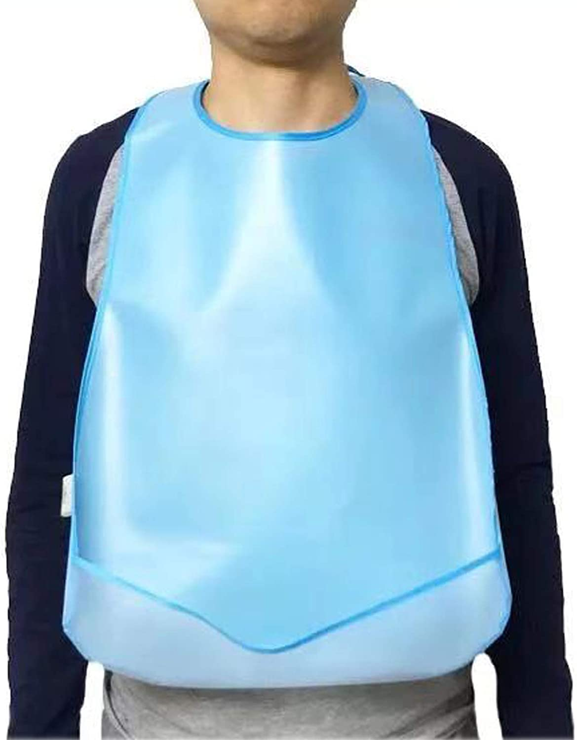 2 Pack Silicone Adult Bibs for Eating Reusable Portable Waterproof Clothing Protectors With food Catcher For Men Women Easy To Clean