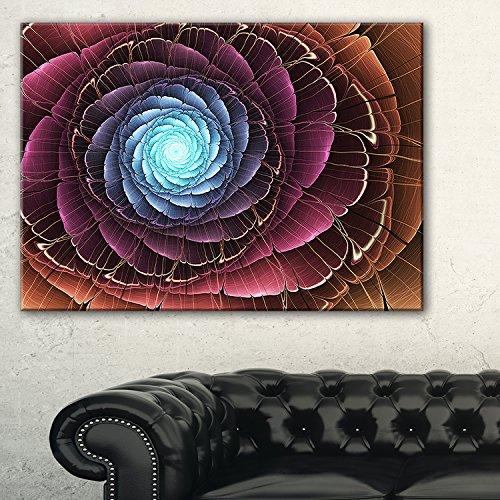 Fractal Flower Pink Brown Digital Art Large floral canvas Art Print,Brown,