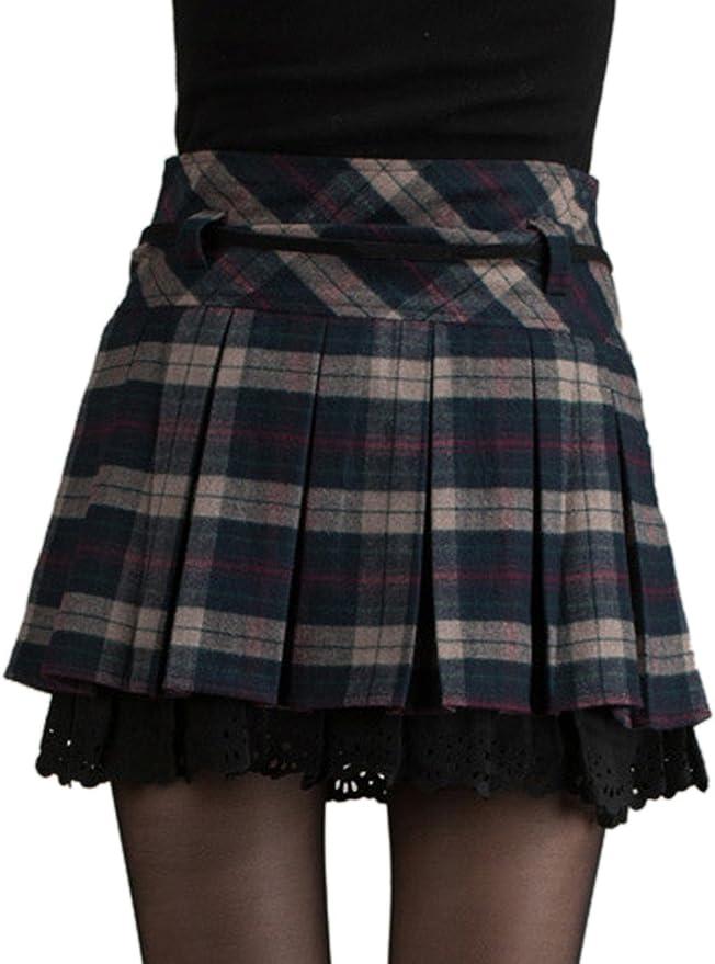 EMMA Mini Falda Mujer Plisada Escocesa Elegante Invierno Alta ...