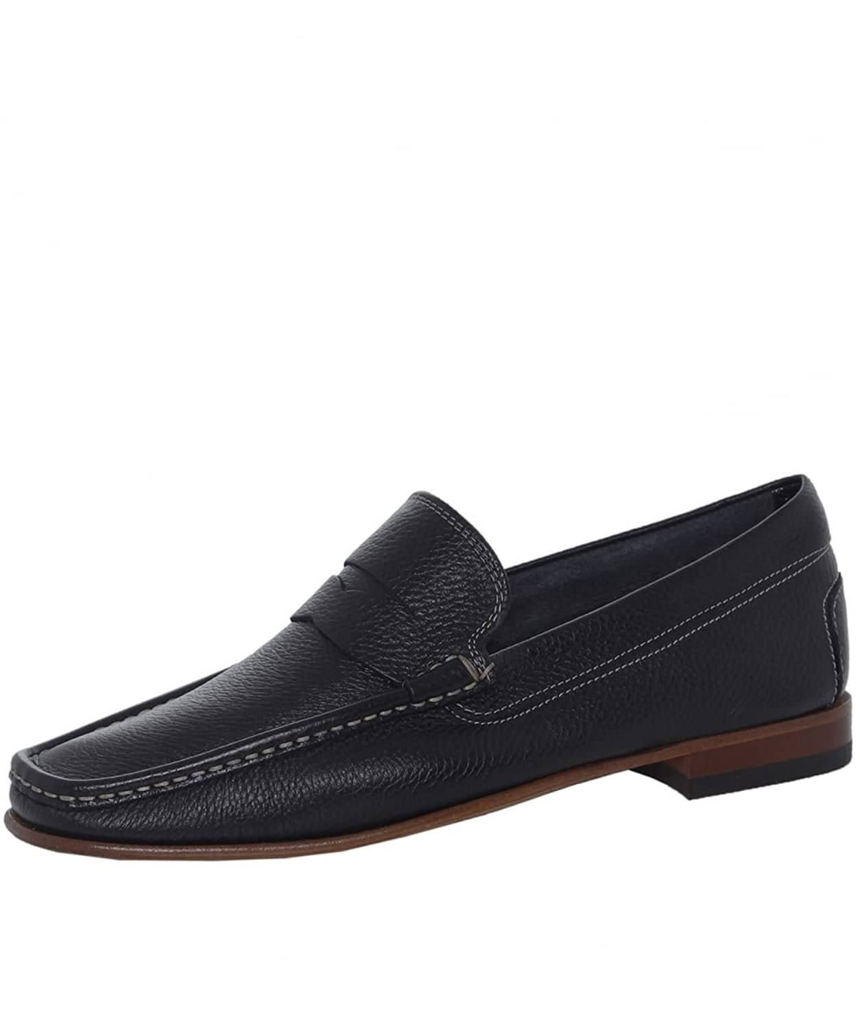Joss Men's Tumbled Leather Penny Loafers Black