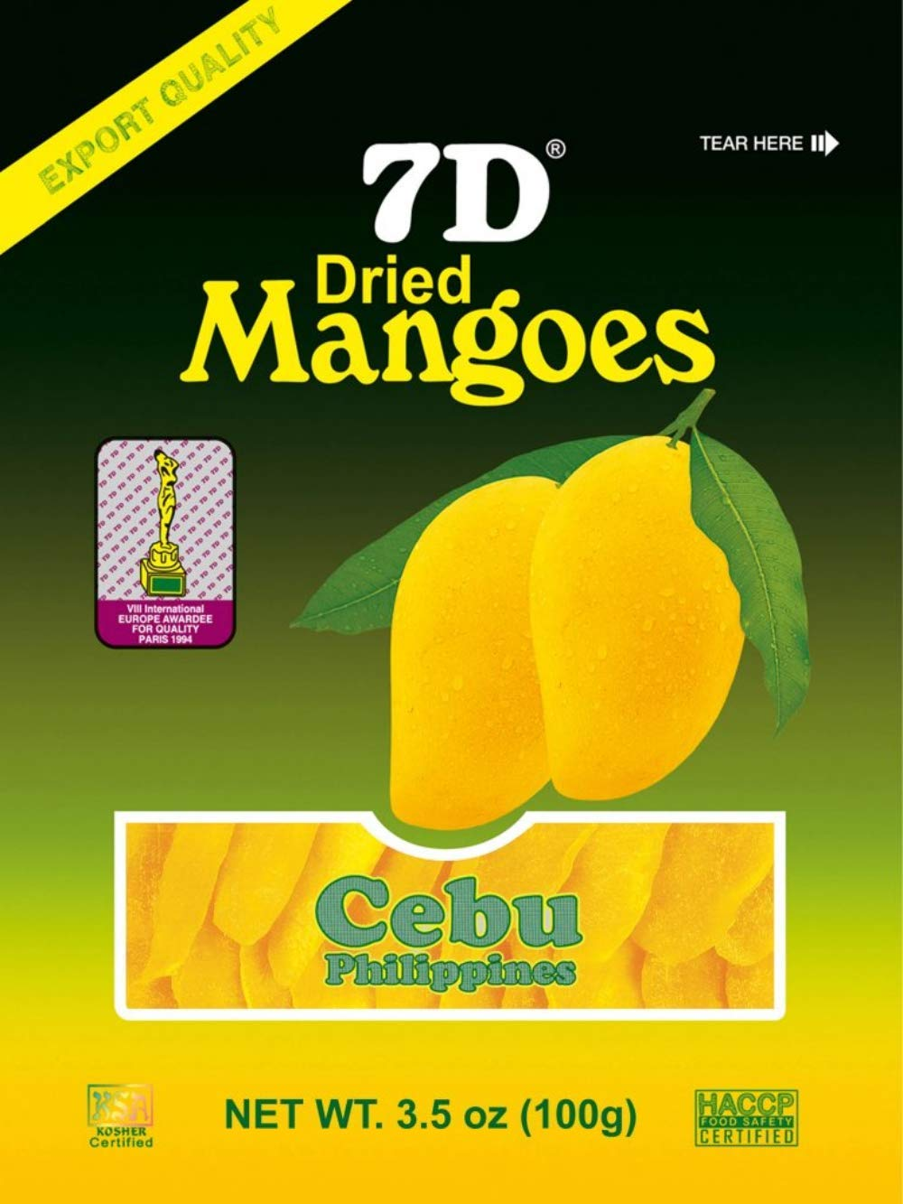 7D Philippine Dried Mangoes Premium Quality Cebu Mango Guaranteed Authentic - Pack of 5 x 100g (500G) by 7D