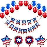 Happy Birthday Banners,American Style Birthday Theme Party,Red Blue White Latex Balloons, Round, Pentagonal Foil Balloon,47 Count, Boys & Girls Birthday Party Decorations Supplies