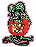 R.f. Rat Fink Big Daddy Hot Rod Logo Tab Patch Sew Iron on Embroidered Applique Sign Jackt T Shirt Ideal for Gift/ 5.8cm(w) X 8cm(h)