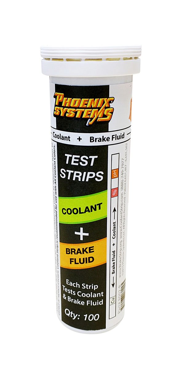 Phoenix Systems 8003-B Double-Ended Test Strip for Coolant + Brake Fluid (100 Test Strips and 100 Rating Scale Cards)