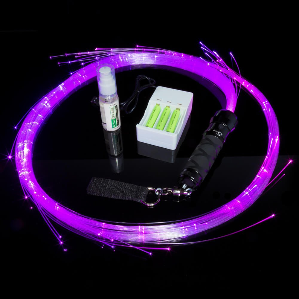 GloFX Space Whip Pro [COMPLETE KIT] – LED Fiber Optic Rave Whip - Comes with ALL ACCESSORIES - Rechargeable Batteries, Flow Grease, Whipgripz, Double Loop Handle