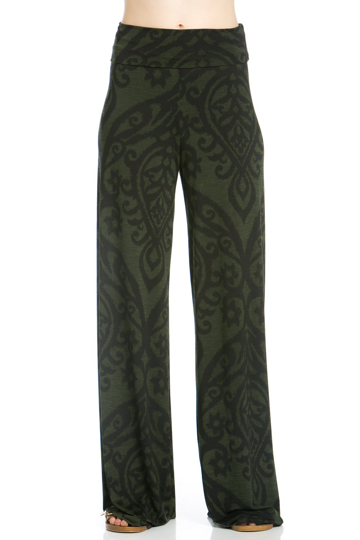 Women's Casual comfort Palazzo Pants (2X-Large, P264DM Olive Black)